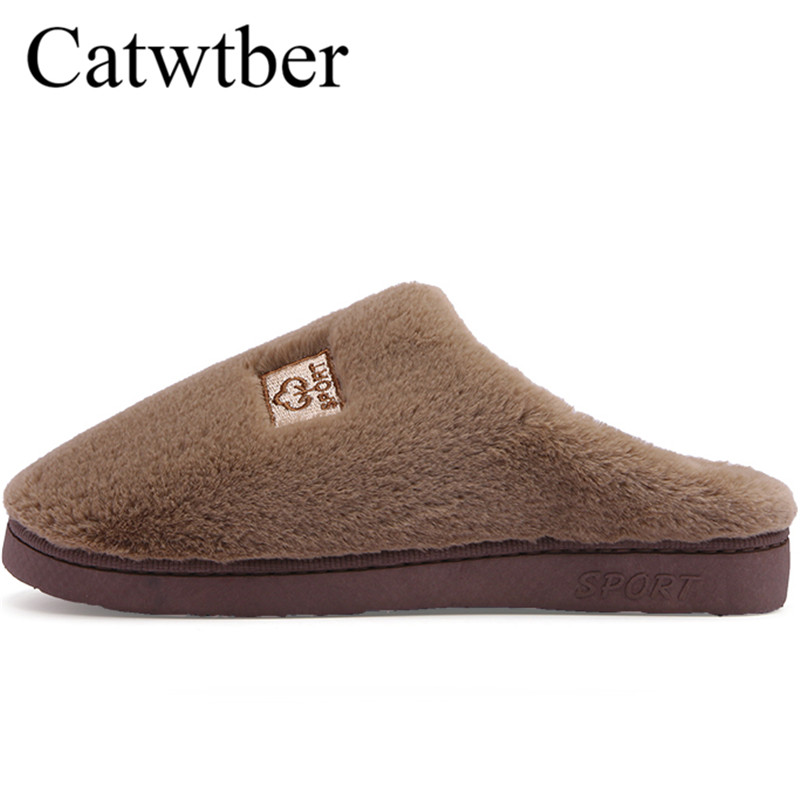 Catwtber Men Slippers Winter Warm Shoes Soft Bottom Non-slip Home Furry Shoes Soft Fur Floor Slippers For Men Indoor Non-Slip 2018 summer non slip bathroom slippers female indoor home soft bottom slippers