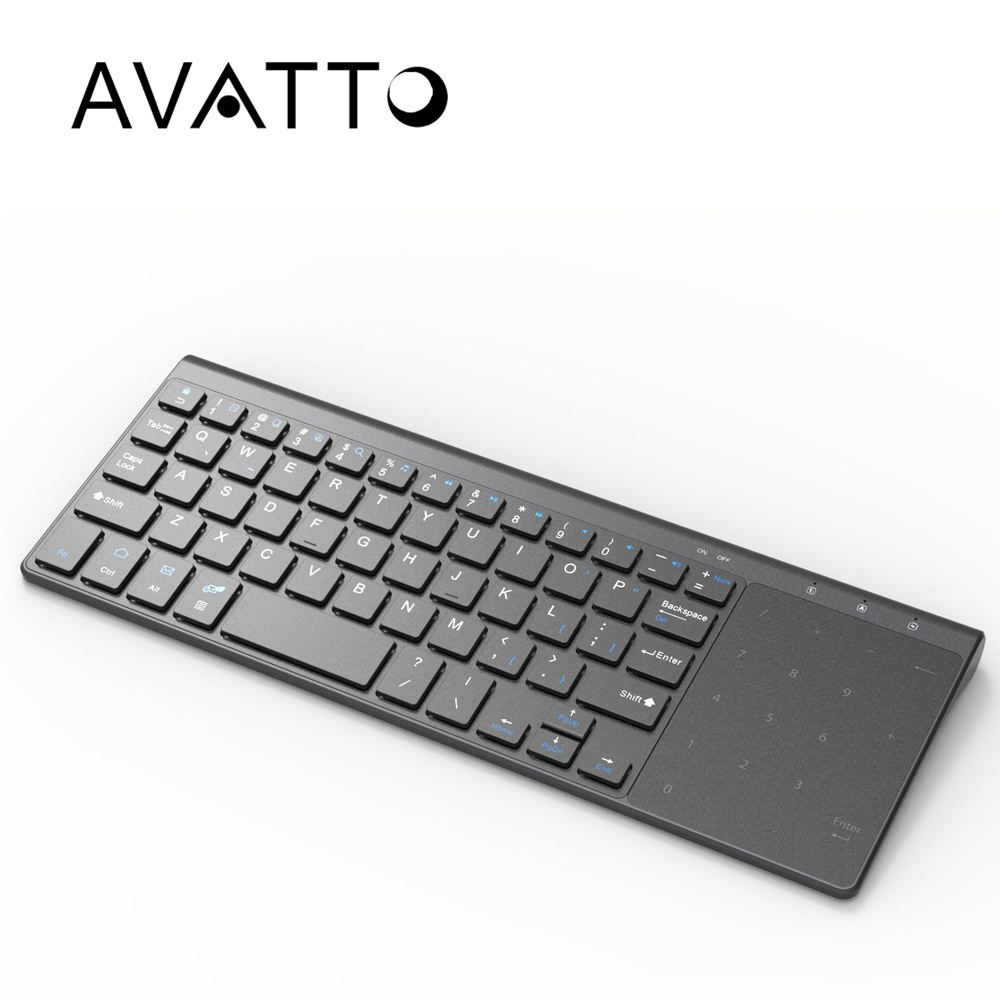 AVATTO T19 Ultra thin 2 4G Wireless Multimedia Keyboard with Touchpad for Windows IOS Samsmg