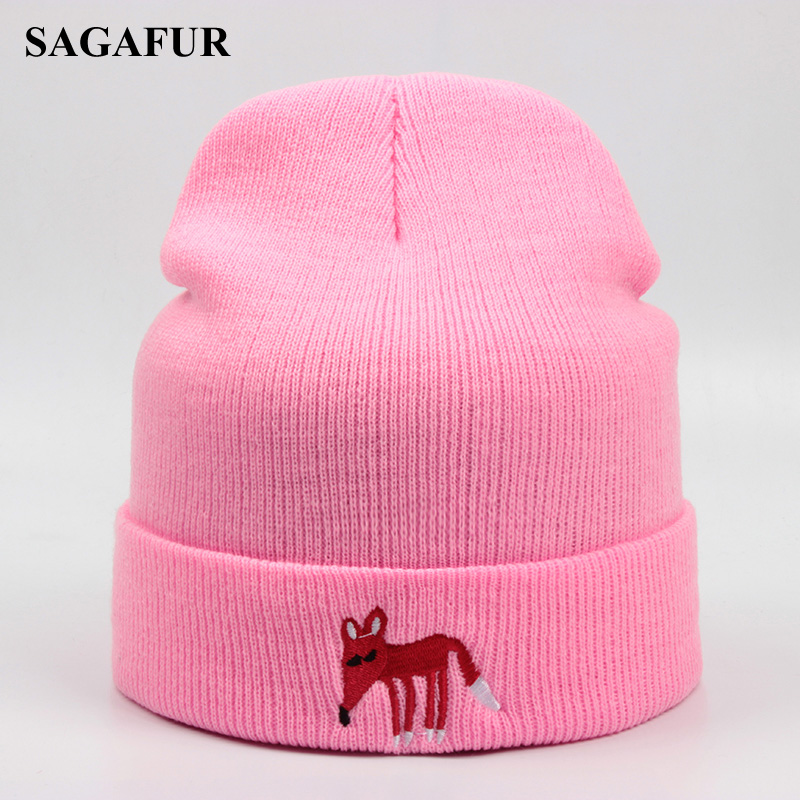 Embroidery Little Fox Knitted Hat For Girl Outdoor Warm Ski Hat Children Winter Cap For Boy Casual Acrylic Skullies Beanies Cute