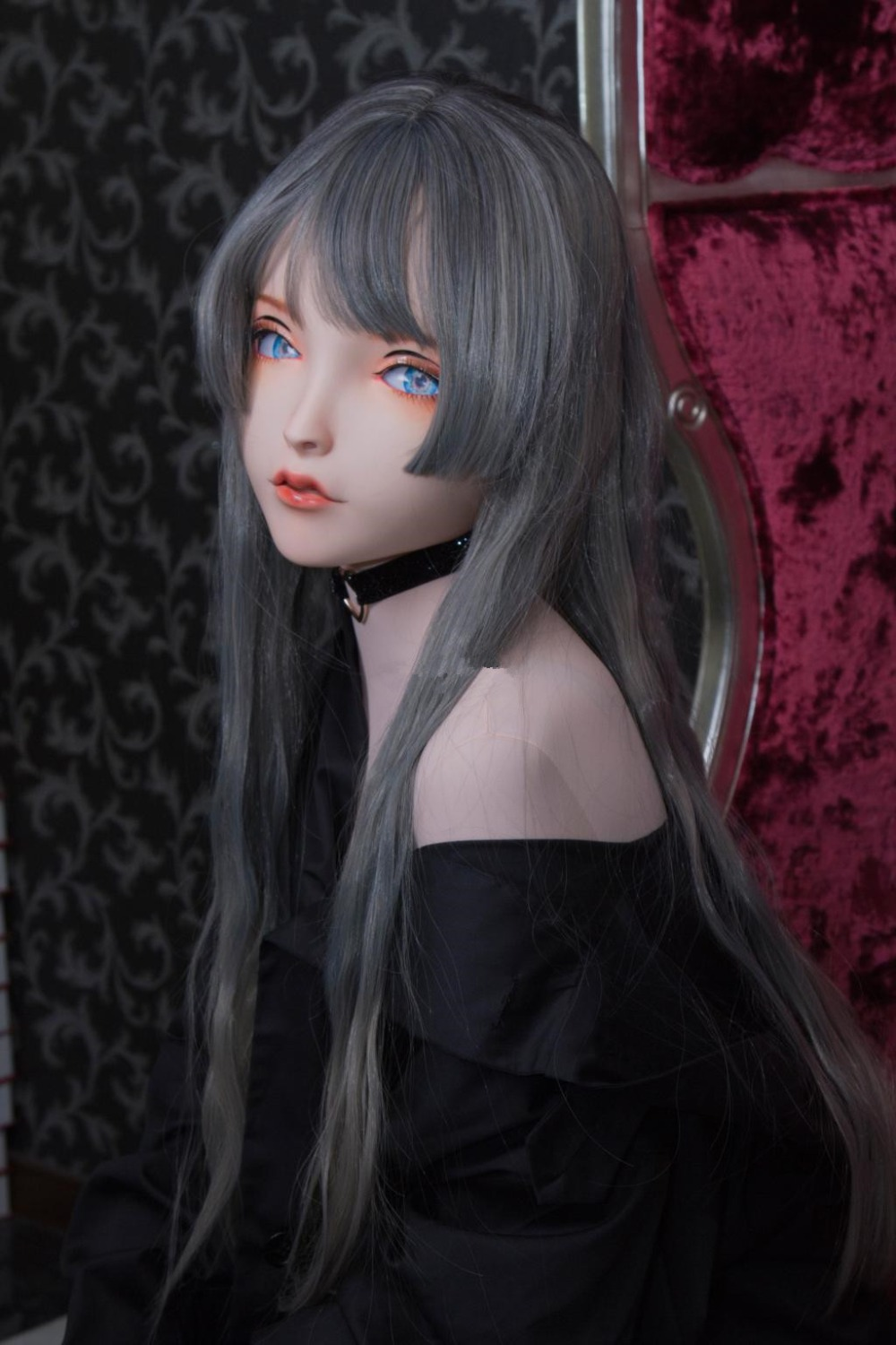 (LiLi Mask-26) Sweet Girl Resin Half Head Customize Cosplay Japanese Role Play Anime Silicone Kigurumi Mask Crossdresser Doll