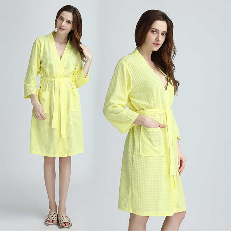 f557c87aa5 Women Summer Sexy Bath Robe Kimono Waffle Bathrobe Femme Peignoir  FashionTowel Nightgowns Bridesmaid Robes Wedding Dressing