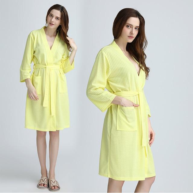 789e4514f Mujeres verano Sexy bata de baño Kimono Waffle Albornoz mujer Peignoir  Toalla de moda camisones batas