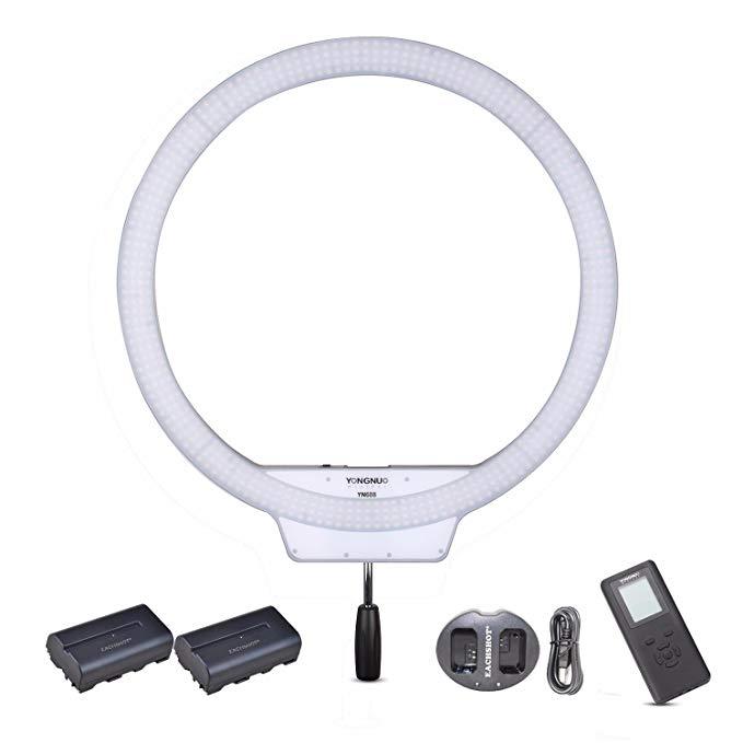 YONGNUO YN608 3200K 5500K Kit {Including 2PCS Battery, Charger} YN 608 CRI 95+ 608PCS LED Bulds Video Ring Light 4864LM