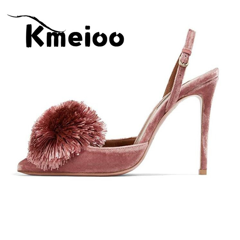 Kmeioo Pumps for Women,Puff Pompom High Heels Pointed Toe Slingback Pumps Stiletto Heel Sandals Evening Party Wedding Shoes stiletto heel pointed toe pumps