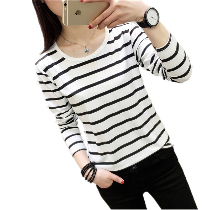 2017 Striped Shirt Long Sleeve Black And White Stripes T