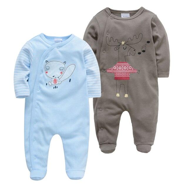 Kavkas 2PCS Brand Baby Romper Long Sleeves 100% Cotton Baby Pajamas Bear  Cartoon Printed Newborn Baby Boys Clothes vestidos muje
