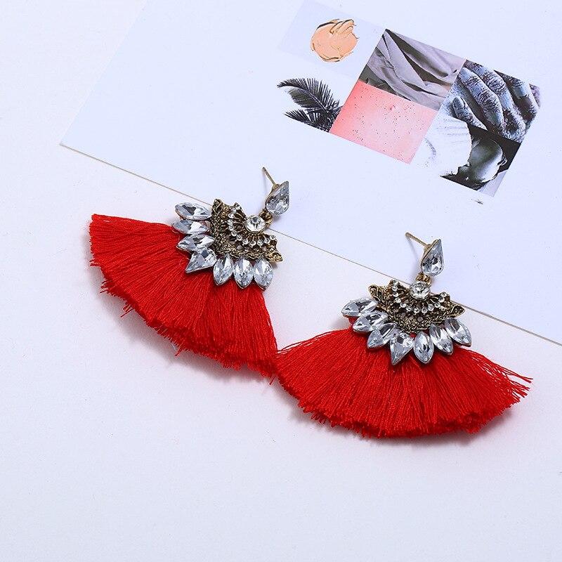 WNGMNGL New 2018 Women Tassel Earrings Bohemia Charm Crystal Black Red Pink Color Drop Earrings for Women Fashion Jewelry Gift in Drop Earrings from Jewelry Accessories