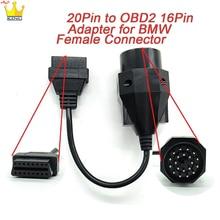 OBD адаптер для BMW 20pin к OBD2 16PIN гнездовой разъем e36 e39 X5 Z3 obd2 кабель для BMW 20-контактный разъем Быстрая доставка