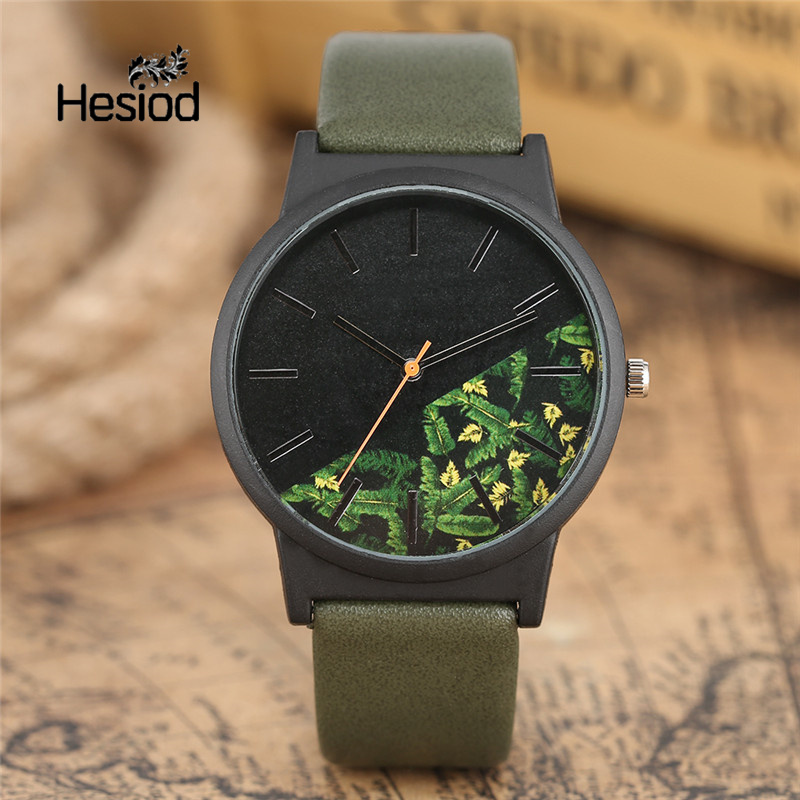 Hesiod Men Watches Army Green Leaf Flower Print PU Leather Quartz-watch Women's Wristwatch Unique Design Casual Sport Watches