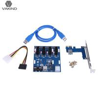 Mini ITX To External 4 PCI E Adapter Multiplier Card With 6Pin Power SATA Port PC