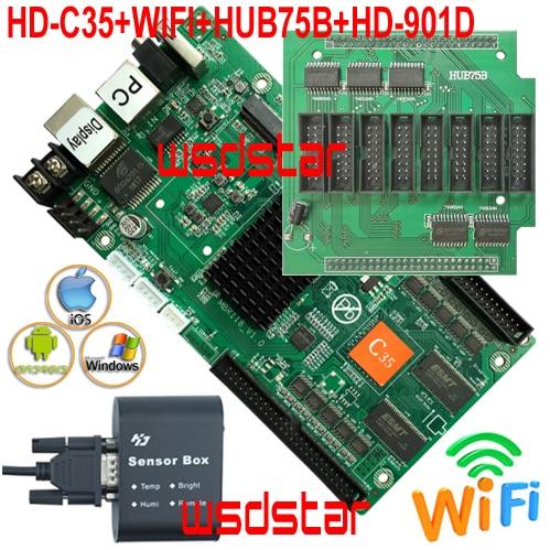HD C35 WIFI HUB75B HD 901D Temperature Humidity Brightness Sensor Asynchronous RGB LED screen control card