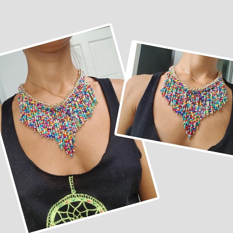 2019 bohème colliers mode pour les femmes bijoux Mujer tissé à la main Collier Long gland perles tour de cou colliers N20 5