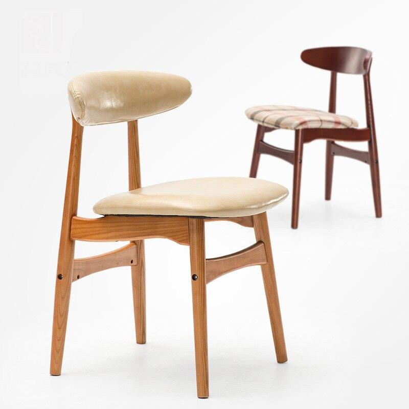 ceniza de madera maciza silla de comedor moderno minimalista hogar silla de comedor restaurante silla de