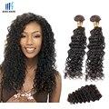 2 Bundle Волосы с Закрытием Малазийский Вьющиеся Волосы Глубокая Волна вьющиеся Кружева Закрытие Малайзии Глубоко Вьющиеся Волосы Девственницы Человеческих Волос утка