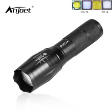 ANJOET A100 LED Flashlight XM-L2 XML T6 Aluminum Torch Zoomable LED Torch Lamp For 3XAAA or 18650 Battery