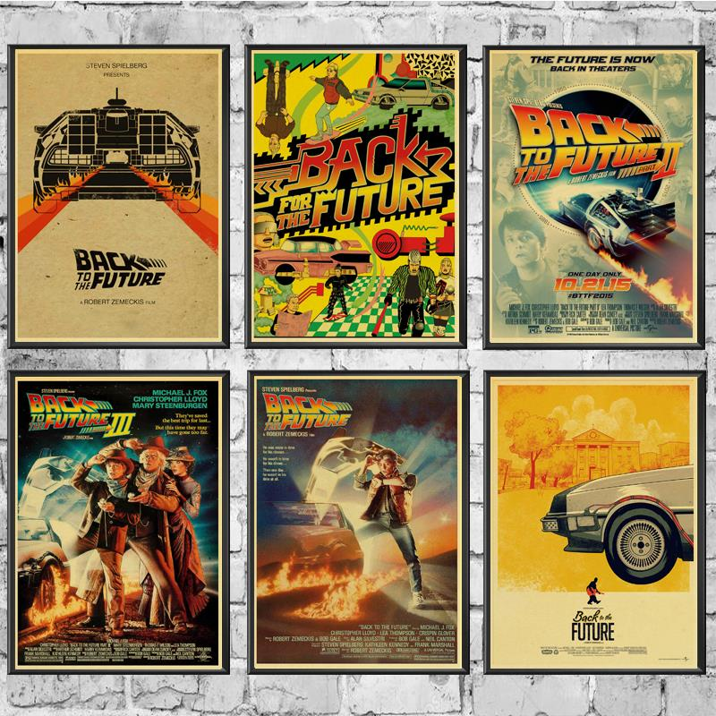 Movie Poster Back To The Future Posters Wall Stickers Retro Poster Prints High Definition For Living Room Home Decals