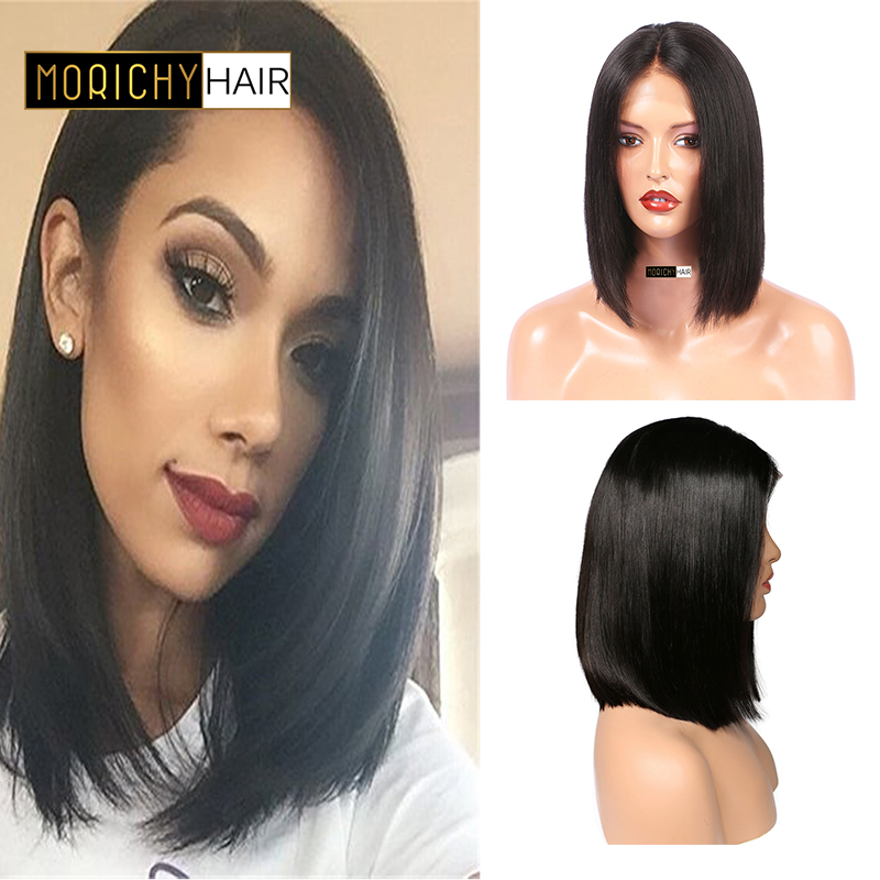Morichy Short BoB Wigs For Black Women Brazilian Remy Hair Straight Lace Front Human Hair Wigs Bleached Knots 150% Density