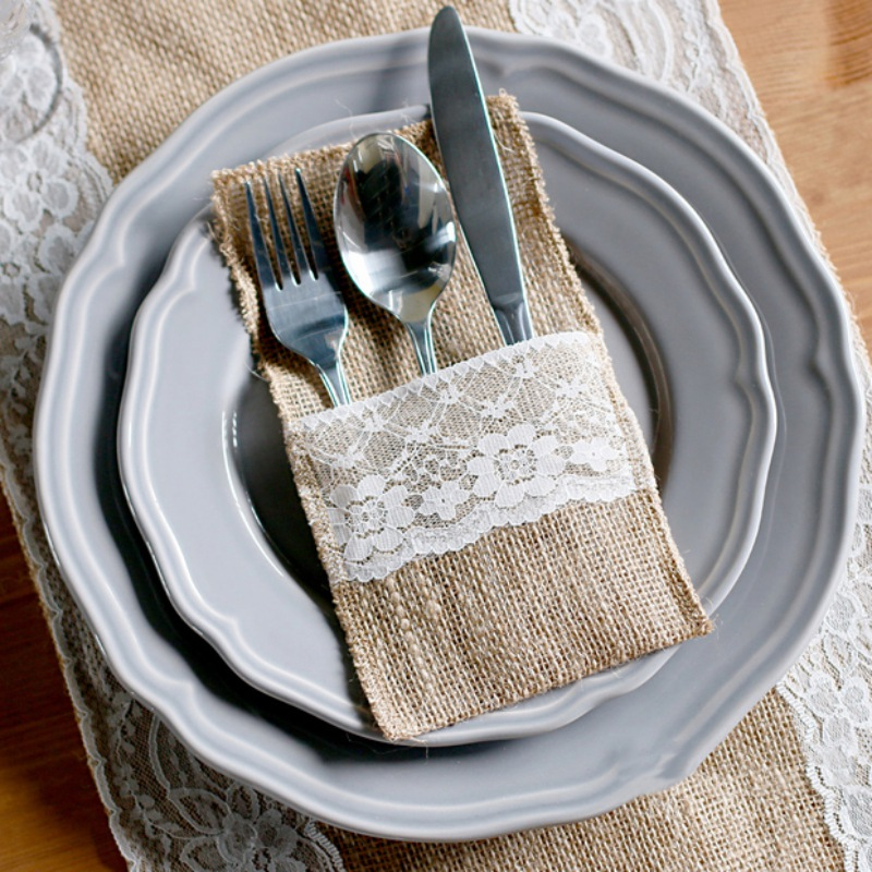 European Style Jute Cloth Lace Floral Bow Tie Tableware Bags Knife Fork Clothes Wedding Party Supplies