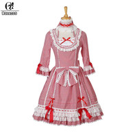ROLECOS 2017 Sweet Lolita Dress For Women Lovely Princess Dress With Bownot Slim Fit Half Sleeve Party Dress Girls Gifts Hot