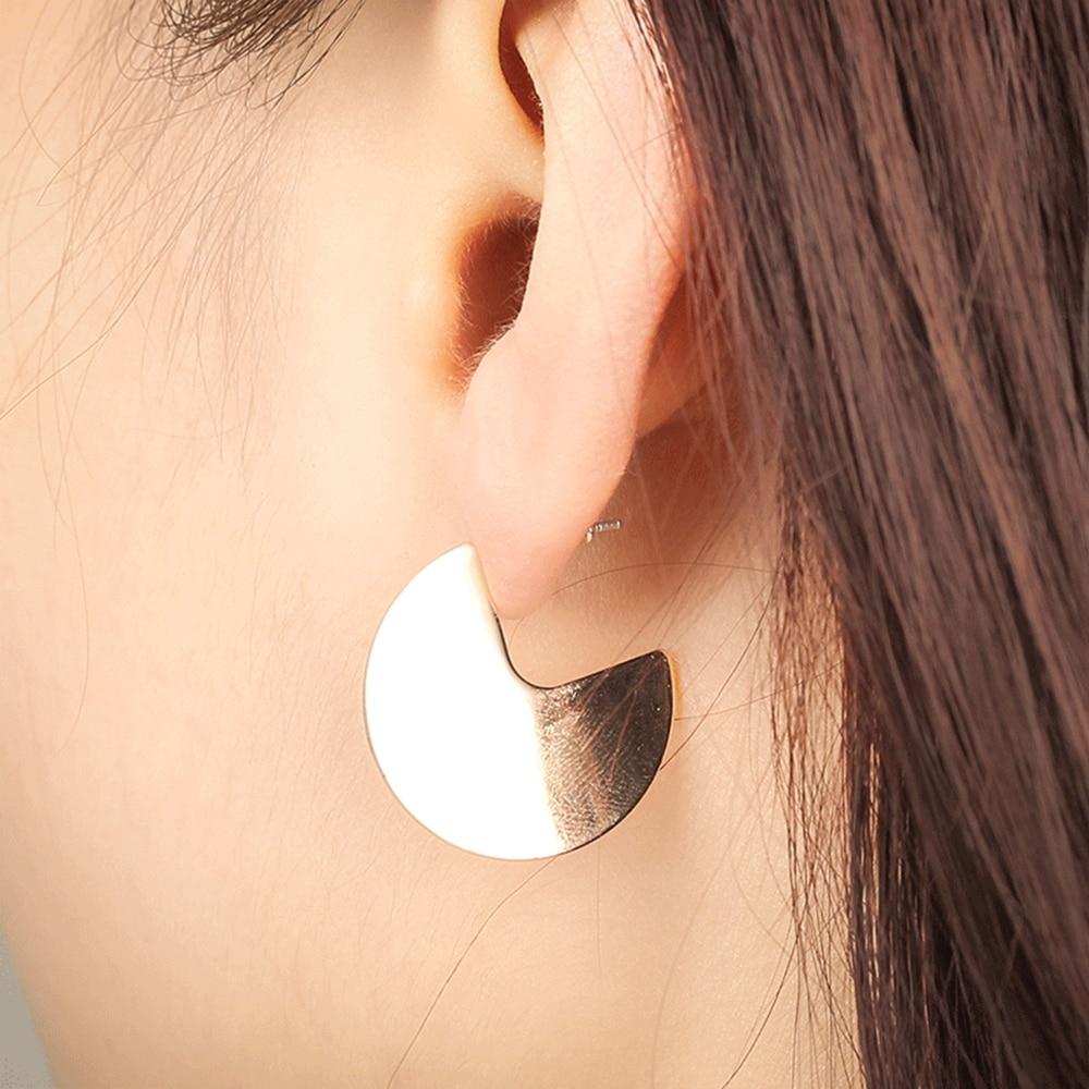 Simple Geometric Gold /& Silver Fashion Ear Stud Large Circle Earrings Jewelry