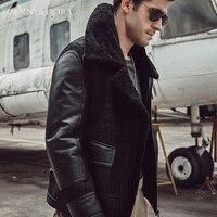 2018 New Fashion Mens Aviator B3 Sheepskin Jacket Coat With Fur Lapels Black Handsome Warm Jacket Silm Coat