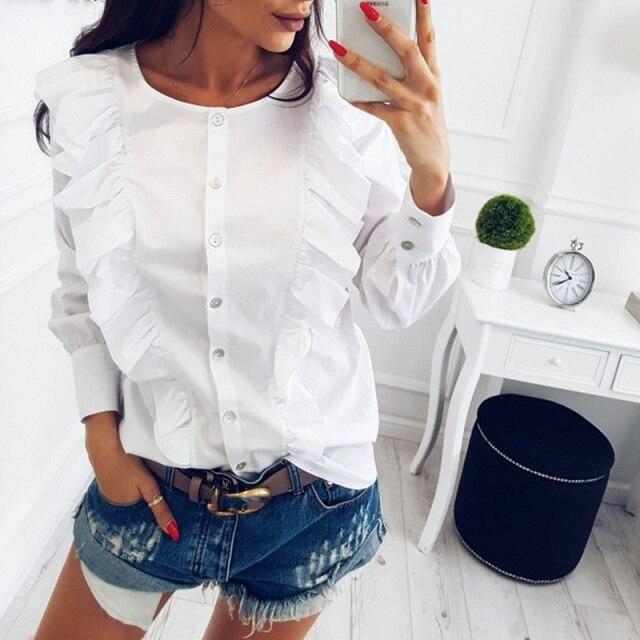 Women Summer New Fashion O-Neck Ruffles Long Sleeve elegant tops blue striped button blouse Casual Office work shirts 10