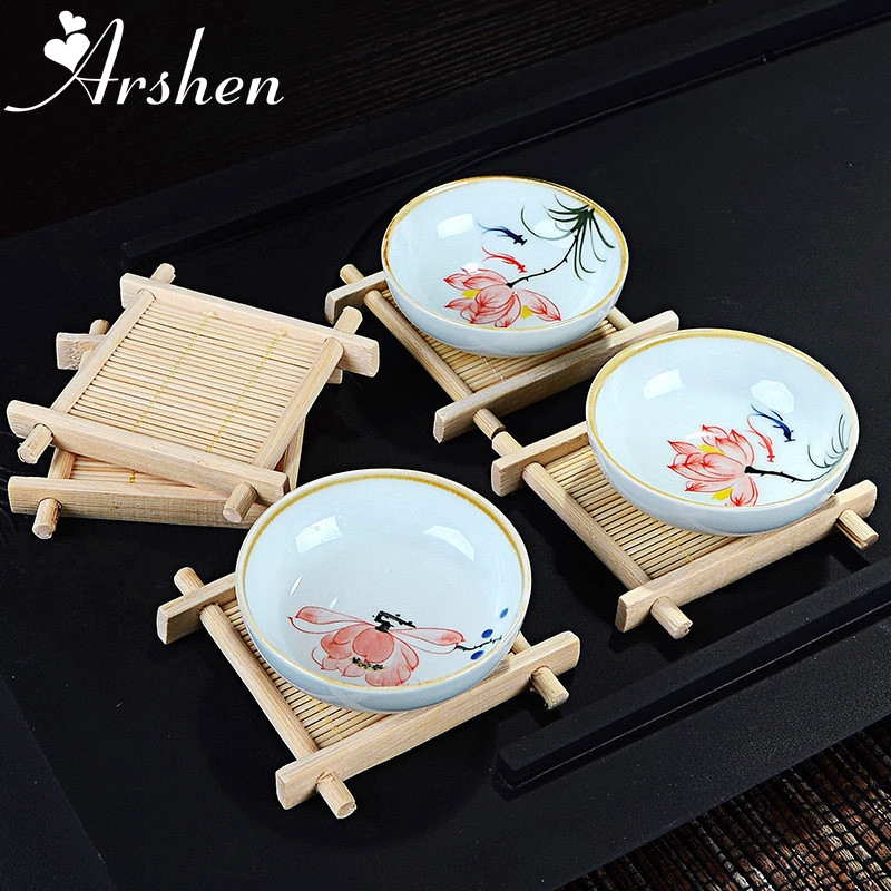 Arshen Mini Handmade Bamboo Cup Mat Kung Fu Tea Accessories Table Placemats Coaster Coffee Cups Drinks Kitchen Product Mug Pads