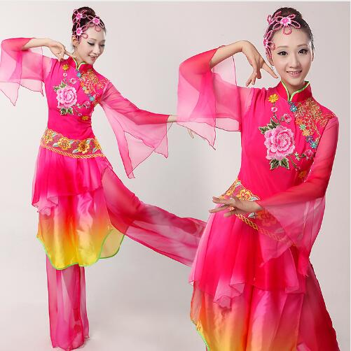 (0117) female elegant sequins peony Embroidery Chinese classical/yangko/umbrella/drum/folk dance costumes for stage performance