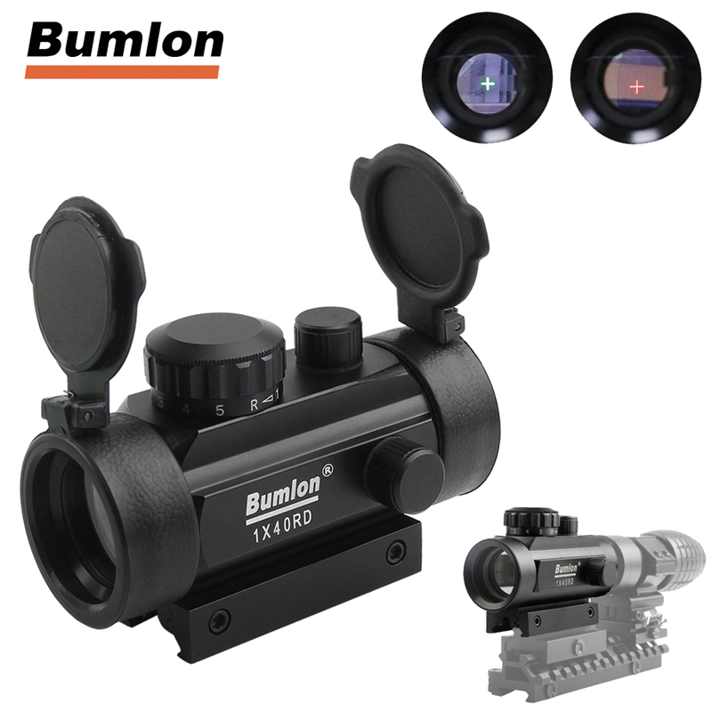 цена Tactical Hunting Rifle Airsoft Holographic Sight Scope 1X Cross Hair Red Dot Sight Riflescope 11 20mm Weaver Rail Mount HT5-0024