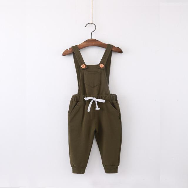2016 nuevo bebé de la muchacha ropa de moda de otoño niños de los guardapolvos de bolsillo de punto de algodón niños suspender pantalones niños ropa infantil