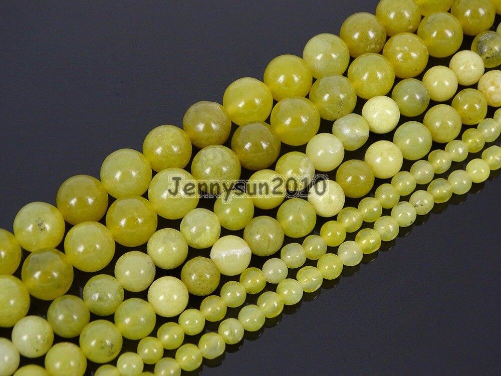 Натуральное оливковое JA-де драгоценных камней камень Круглый Loose Spacer Бусины 15 4 мм 6 мм 8 мм 10 мм 12 мм для изготовления ювелирных изделий реме...