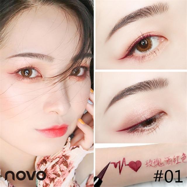 6 Color Liquid Eyeliner Pencil NOVO Cosmetics Eye Makeup Long Lasting Waterproof Black Eye Liner Pen Women Make Up 4