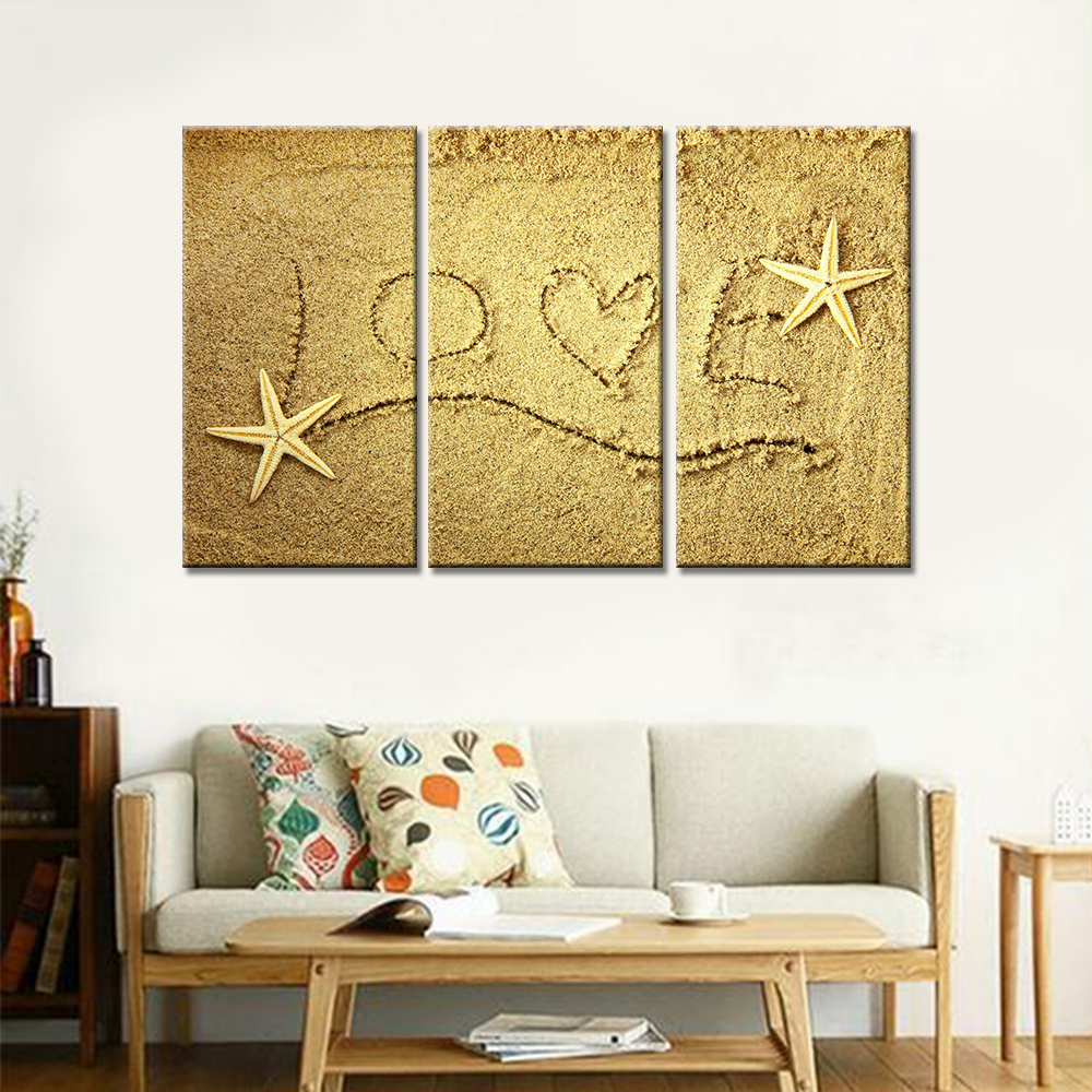 Drop shipping 3 Pieces Canvas Wall Art Love on The Beach Shells ...