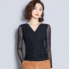 AOSSVIAO Sexy Mesh Blouses Women Clothes Fashion Dot Blouse Korean Shirt Long Sleeve V-Neck Tops Shirts Autumn Winter Blusas цена