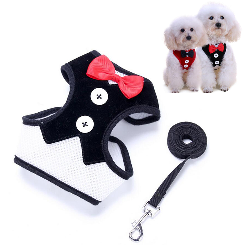 Pet Dog Clothes for Small Dogs Suit Pattern + Strap Dog Harness Pet Chest Harness Safety Mesh Strap S M L Size