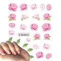 1 Folha Elegante Flor Rosa Transferência de Água Nail Art Stickers Foil Polonês Wraps DIY Decoração Ferramentas de Beleza Do Prego Decalques BLE2021