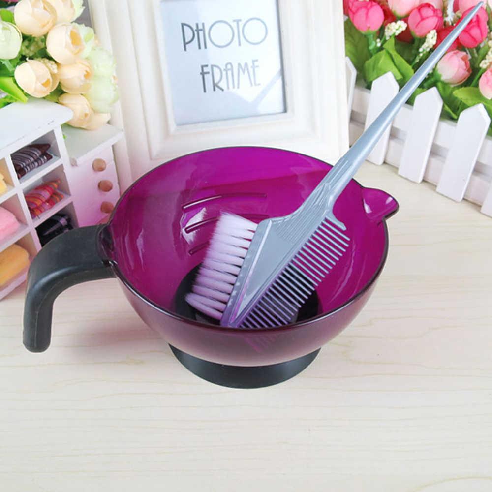 1 Pc Professiona Salon Tint Tintura de Cabelo coloração Escova Pente de Plástico Ventosa Paleta de Mistura Tigela Ferramenta de Estilo de Cabelo Aleatório cor