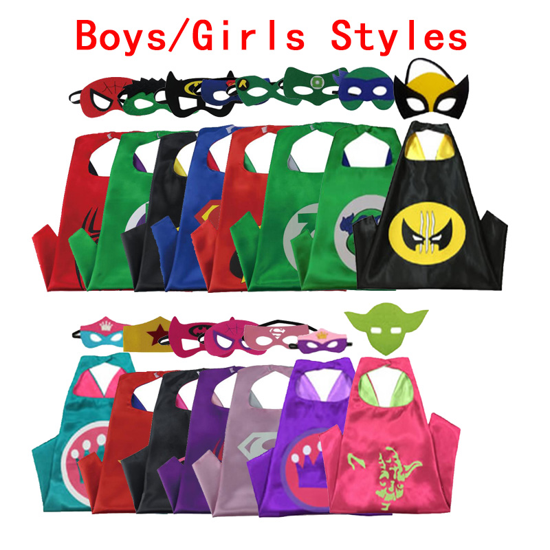 110Styles Batman Spiderman Superhero Cape & Mask Layer Costume Birthday Party Capes New Year Costumes Cosplay for Kids Gift цены онлайн