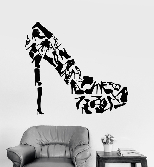 High Heels Shoes Wall Art Stickers Living Room Creative Decor Footwear  Womenu0027s Shoes Shop Fashion Wall