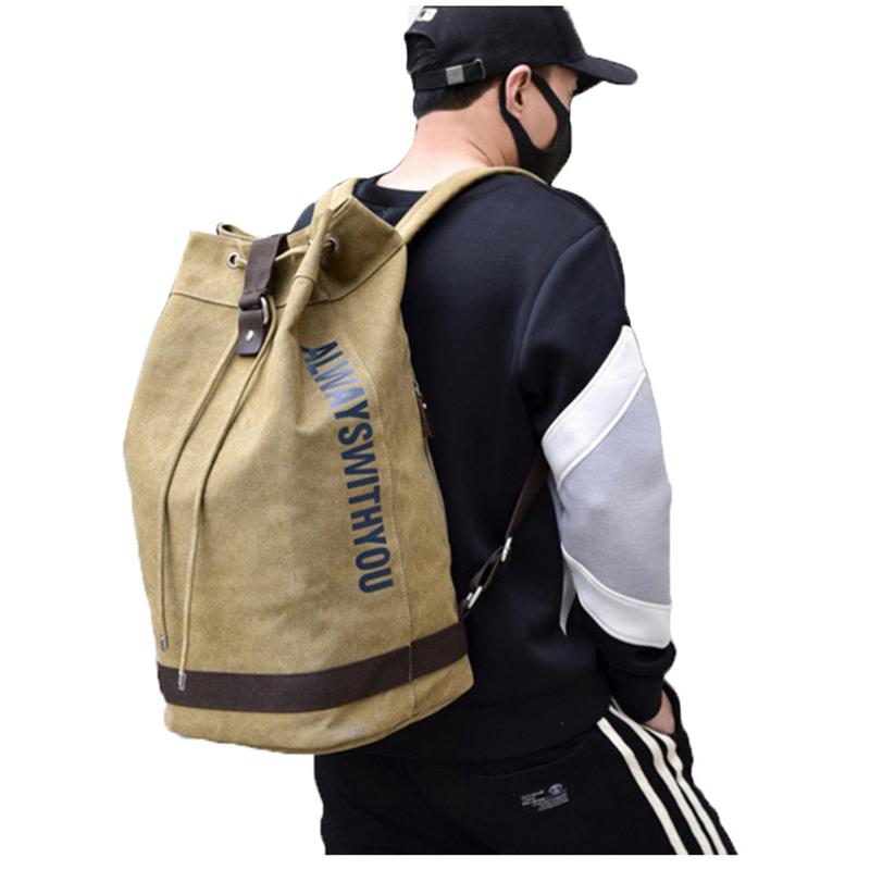 Outdoor Men's Canvas Bucket Drawstring Backpack Letter Printing Army Bags  Tactical Military Sports Bag Foldable Hiking Rucksack|Climbing Bags| -  AliExpress