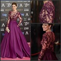 New A-Line Prom Dresses Purple Satin Applique Beaded Sequins Vestidos De Festa Sheer Long Sleeves Floor Length Prom Gowns E16828