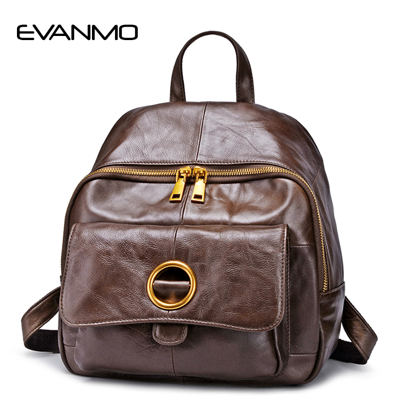 Brand Women Backpack Genuine Leather Backpacks for Women Real Leather School Bag Large Capacity Travel Bags Cowhide Backpack