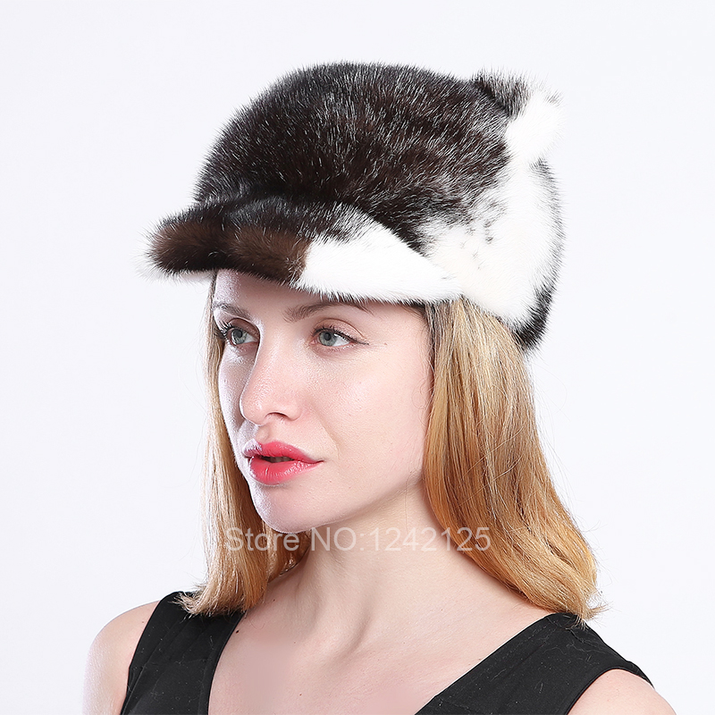 New Autumn winter women lady Female real mink fur hat cute luxurious cat ear with tail genuine mink baseball fur cap hats hot hm039 real genuine mink hat winter russian men s warm caps whole piece mink fur hats