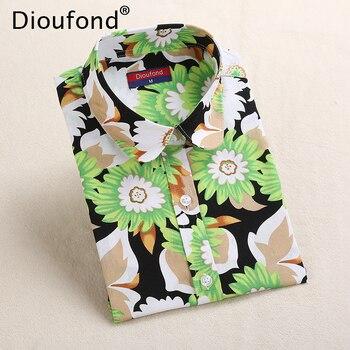 6b8b1dfbcb2 Dioufond Цветочный принт рубашка с длинными рукавами Для женщин Sun Flower  новые милые блузки хлопковые стильные топы