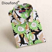 Dioufond Floral Print Long Sleeve Shirt Women Sun Flower New Sweet Blouses Cotton Tops Fashion Blusas Chemise Femme 2018