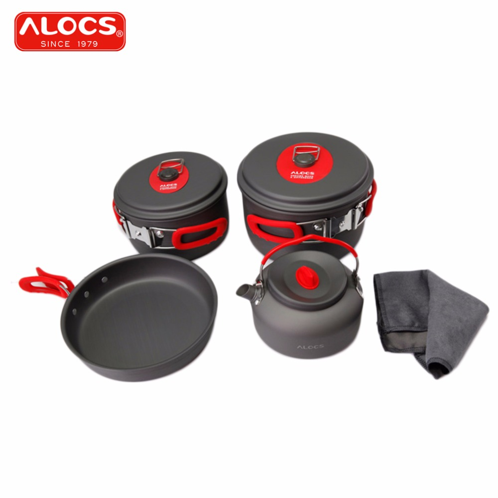 ALOCS 7PCS Outdoor Picnic Camping Cookware For 3-4person Mixed Flying Pan Kettle Pot Skillet Flambe Cloth Cooking Set CW-C06S alocs cw c19t 2 3 people outdoor camping cook set 5 pieces with bag 2 2l pot 1 4l teapot 7 5 inches frying pan
