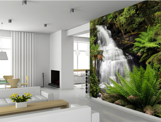 3D Rainforest Waterfall for living room bedroom kitchen background wall  waterproof PVC wallpaper in Wallpapers from Home Improvement on  Aliexpress com  Custom landscape wallpaper  3D Rainforest Waterfall for living  . Living Room Waterfall. Home Design Ideas