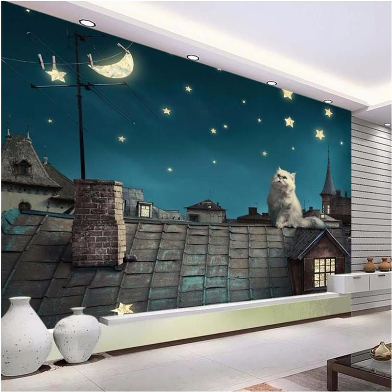 3d photo wallpaper custom size classic mural room night roof cat moon stars HD painting sofa TV background wall non-woven mural высокое качество wall painting custom 3d photo wallpaper для гостиной tv background mural обои для спальни для спальни city night