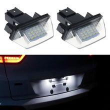 1 Pair 18 LED License Number Plate Lights Lamp For Peugeot 206 207 307 308 406 Citroen C3/C4/C5/C6 все цены