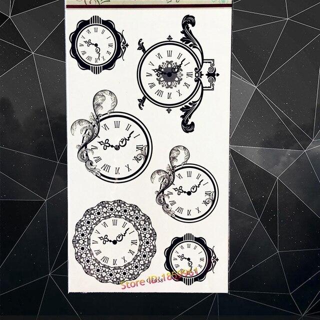 Bonne Qualite Horloge Noire De Tatouage Temporaire De Corps De